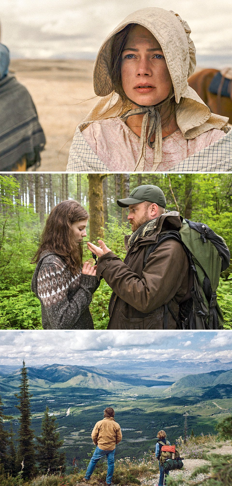 3 movie stills: a woman in a bonnet, a man and a woman conversing in the middle of a forest, and a man and boy looking out over a mountainous landscape