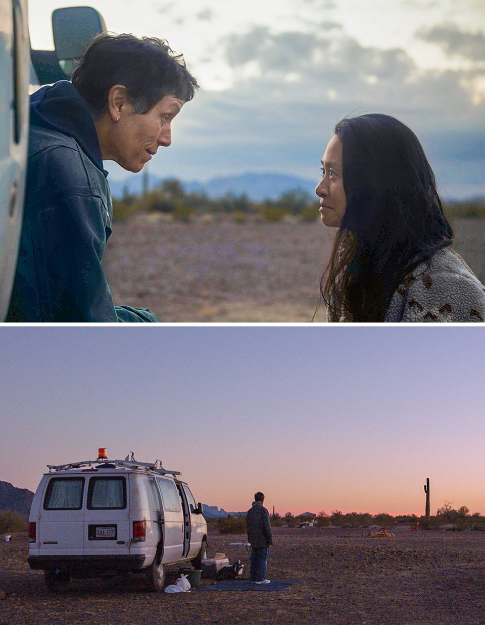 a woman leaning out of a van to talk to another woman and a woman standing by a van to look out over a desert landscape at sunset