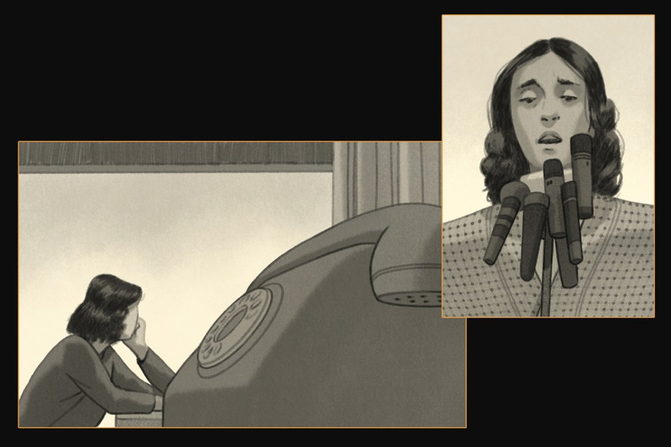 illustrations: woman waiting by phone; woman speaking at press conference with 7 microphones.