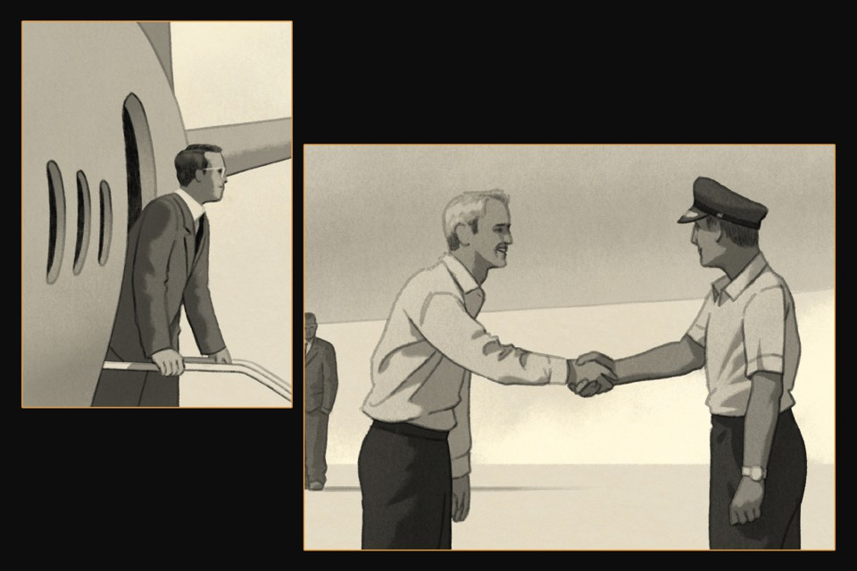 illustration: man exiting small plane; two men shaking hands