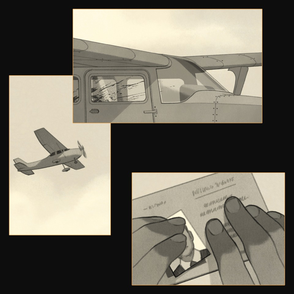 illustrations: small plane flying; outside of plane cockpit with blood-spattered windows; close-up of two hands gluing a photo on a license