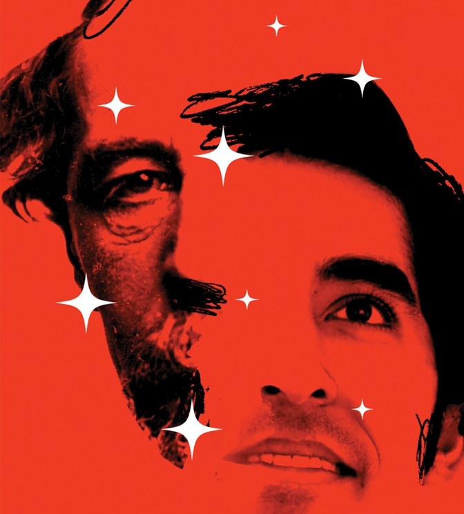 Illustration of two mens' faces with white stars on a red background