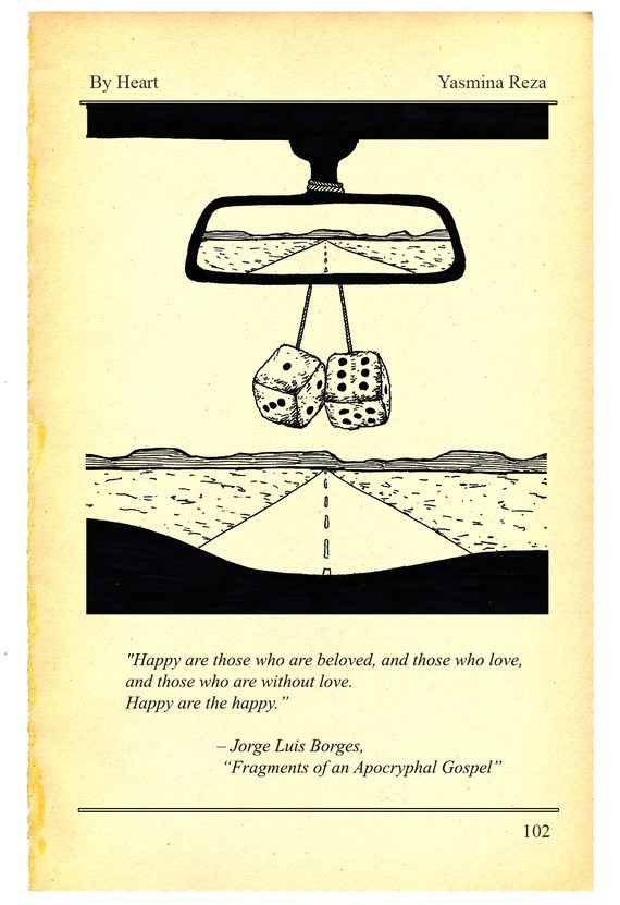 Illustration of the inside of a car looking out on the open road. Dice are hanging from the rearview mirror.