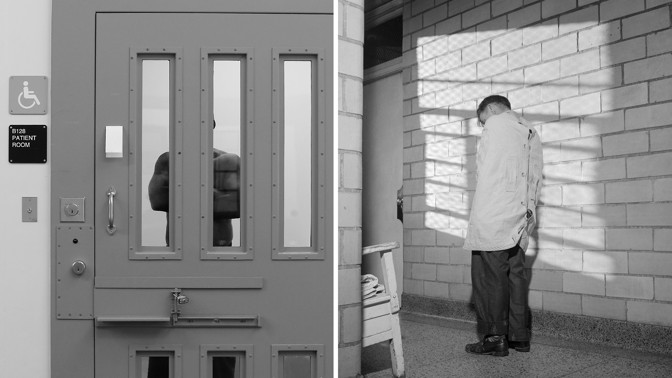 An inmate is seen in between slats in the door to one of the cells at the mental health unit at the California Department of Corrections and Rehabilitation's Stockton Health Facility