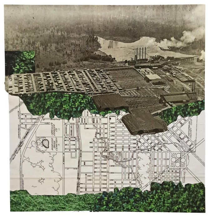 collage of map, image of lumber mill, and green grass