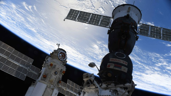 The Nauka module is seen docked to the International Space Station