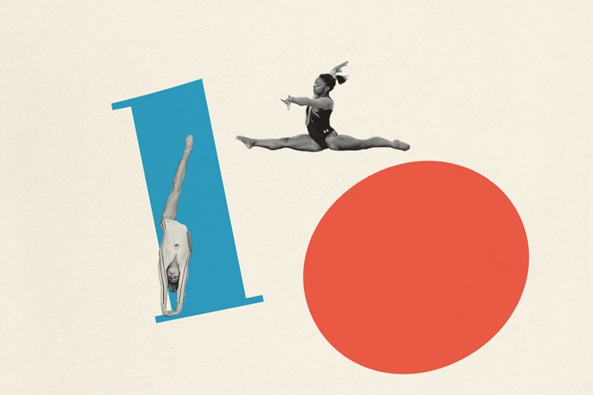 illustration of gymnasts over the number ten