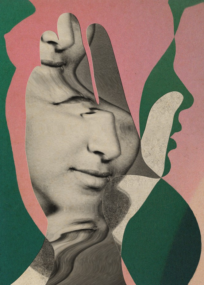 Silhouette of female torso in pink over profile of face in green and shape of a hand with photo of woman's nose and lips