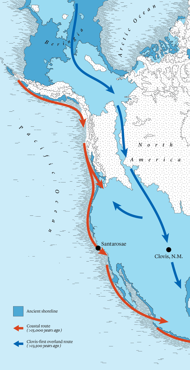 Map comparing two routes from ancient Beringia down into North America, one overland route through Clovis, NM, and a possible coastal route