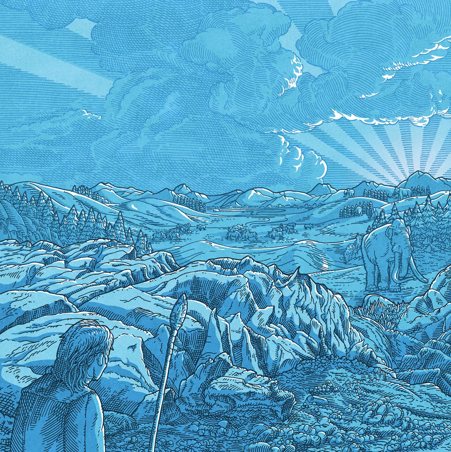 Illustration of ancient human with spear looking across glacial valley toward megafauna with sun rising behind landscape
