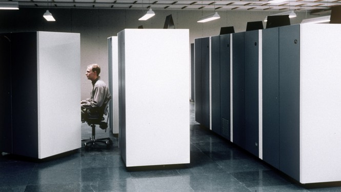 Man in cubicle