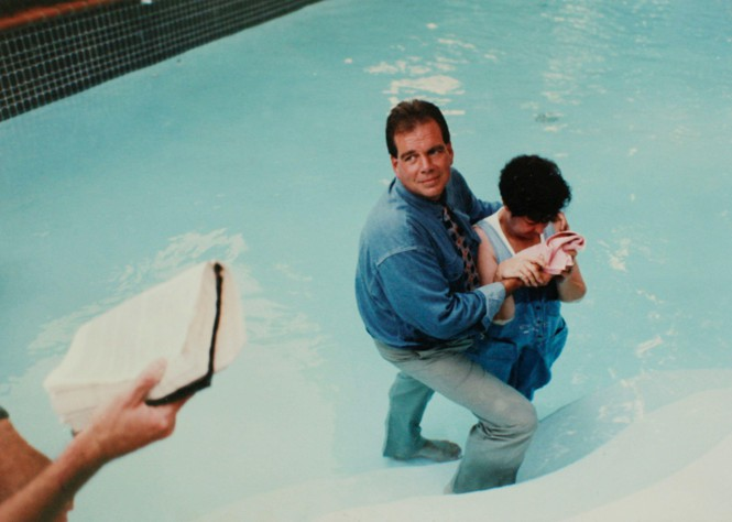 A photo of Norma McCorvey's baptism in 1995