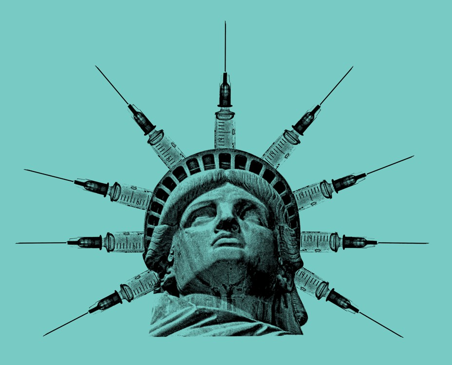 Statue of Liberty with her crown's spikes replaced by syringes.