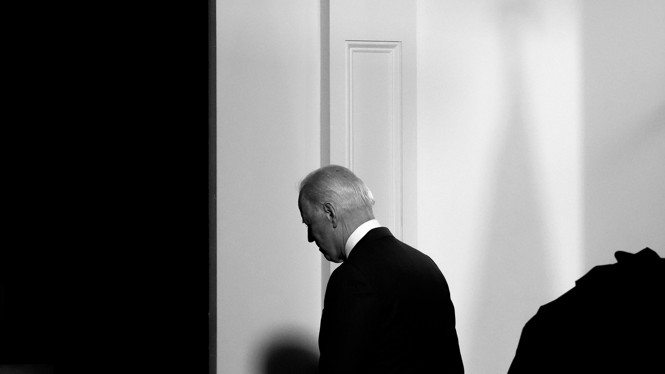 President Joe Biden walking away from the camera