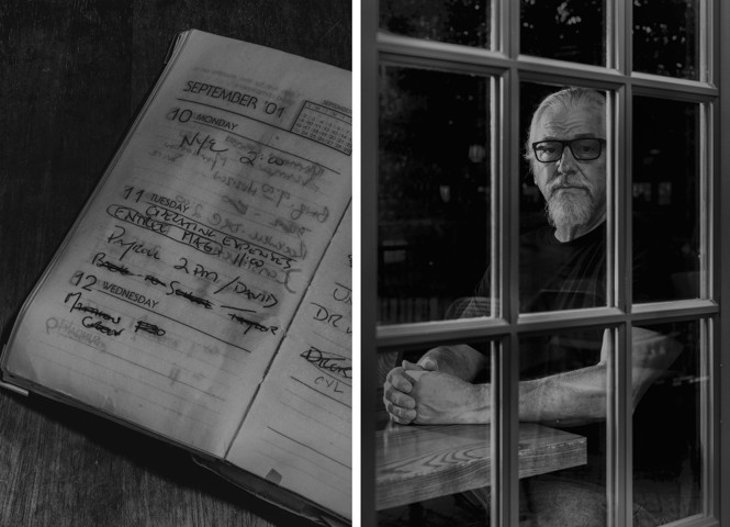 date book turned to Sept. 11, 2001.  A man sitting behind french doors