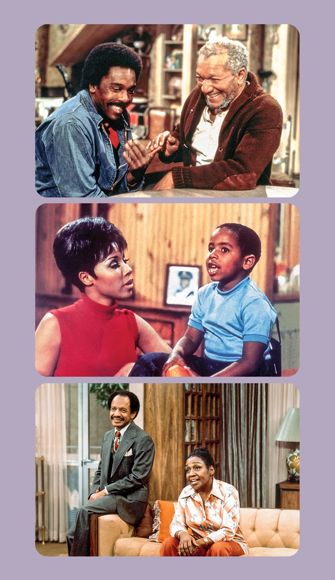 3 video stills: Lamont and Fred Sanford clasping hands and laughing; Julia and her son talking; George and Louise Jefferson talking in their living room