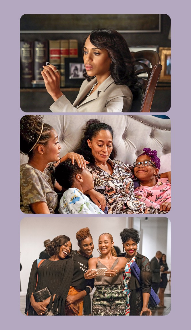 Stills from the shows 'Scandal,' 'Black-ish,' and 'Insecure'