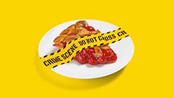 illustration of crime scene tape covering a slice of pie