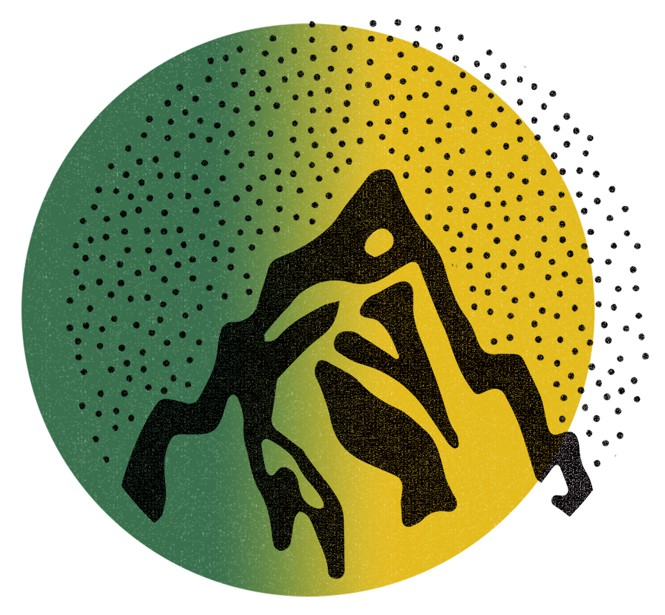 Green and yellow circle with the silhouette of a mountain