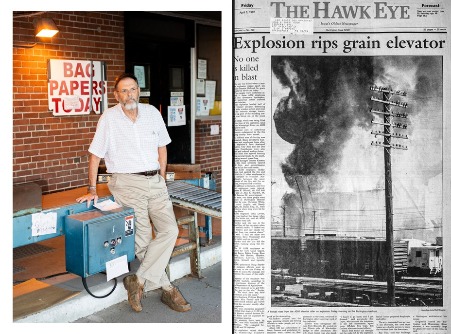 Diptych of Dale Alison and an archival copy of an article depicting the grain elevator explosion.