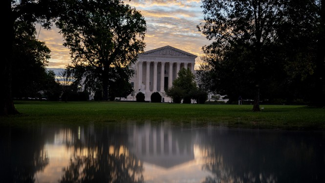 A photograph of the Supreme Court building in D.C.