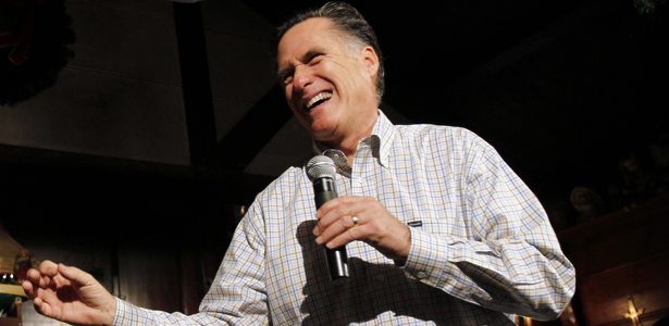Presidential hopeful Mitt Romney tells a joke at a campaign stop in New Hampshire