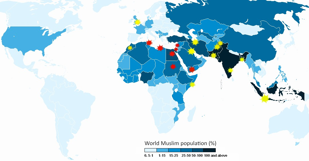 Countries map muslim Four Maps