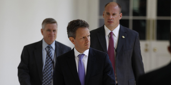 Geithner walking after debt deal - Larry Downing Reuters - banner.jpg