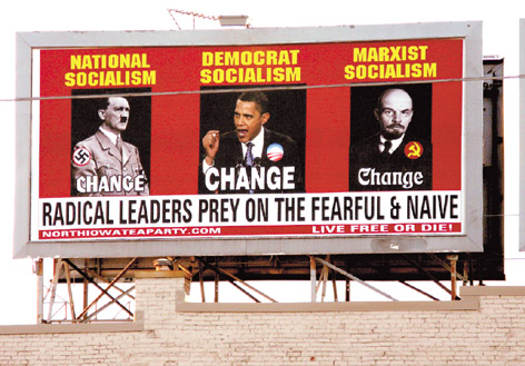 Obama Hitler billboard - Mason City Globe Gazette Deb Nicklay - full.jpg