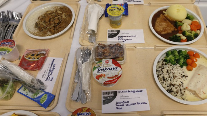 Meal trays are pictured at the Vivantes group of hospitals in Berlin.
