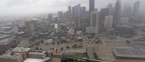 Downtown Houston is flooded in the wake of Hurricane Harvey.