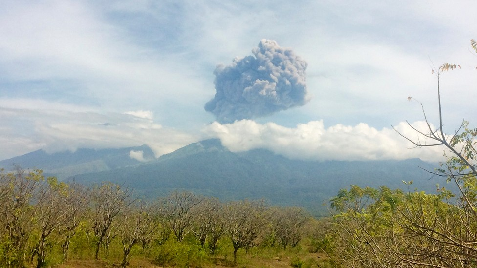 Mount Barujari, located inside Mount Rinjani volcano, is seen erupting from Bayan district, North Lombok, Indonesia, on September 27, 2016.