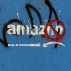 Anti-Amazon graffiti in Long Island City, Queens.