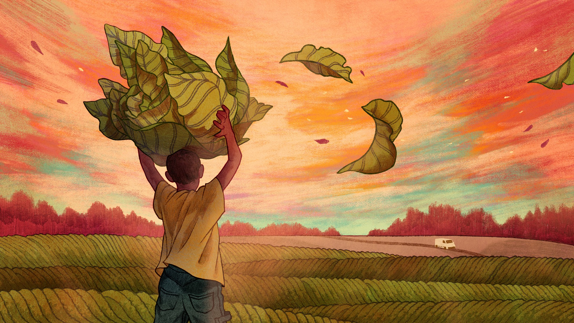 An illustration of a child tobacco farmer in a field