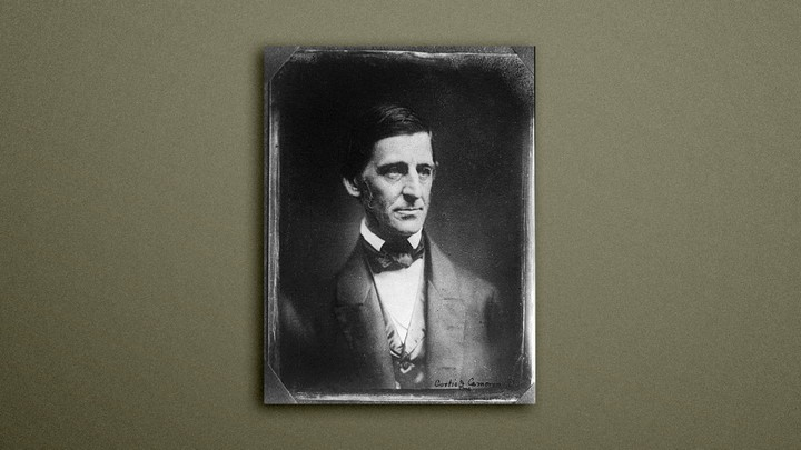 a portrait of Ralph Waldo Emerson on a gray background