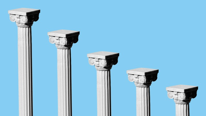 An illustration of Roman pillars descending