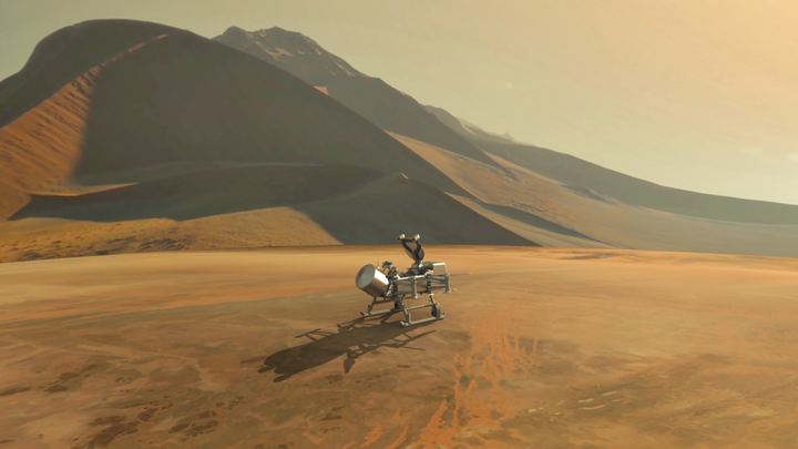 An artist's impression of the Dragonfly spacecraft on Titan