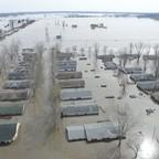 Aerial view of heavily flooded homes in Bellevue, Nebraska.
