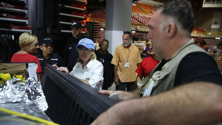 The chef José Andrés (right) and San Juan Mayor Carmen Yulín Cruz prepare a truck of relief supplies in the aftermath of Hurricane Maria on September 30, 2017.