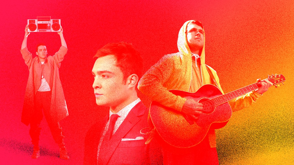 A photo illustration depicting Lloyd Dobler of 'Say Anything,' Chuck Bass of 'Gossip Girl,' and Jesse Lacey of the band Brand New