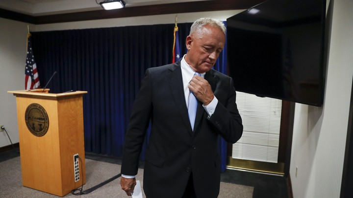 Hamilton County Prosecutor Joe Deters leaves after announcing his decision to not pursue a third trial on July 18, 2017.