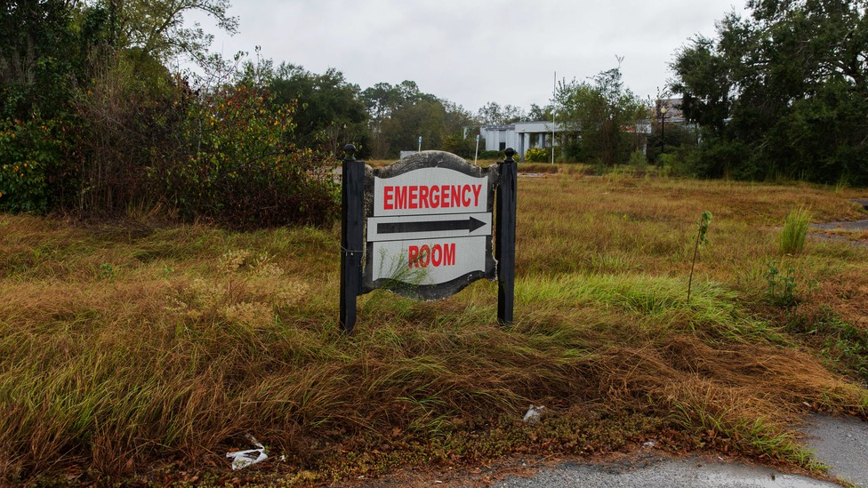 A sign for a shuttered rural hospital in Georgia.
