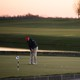 A man golfs at the Trump National Golf Club in Bedminster, New Jersey.