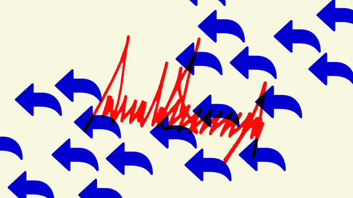 Illustration of blue arrows pointing backwards layered over a red Donald Trump signature