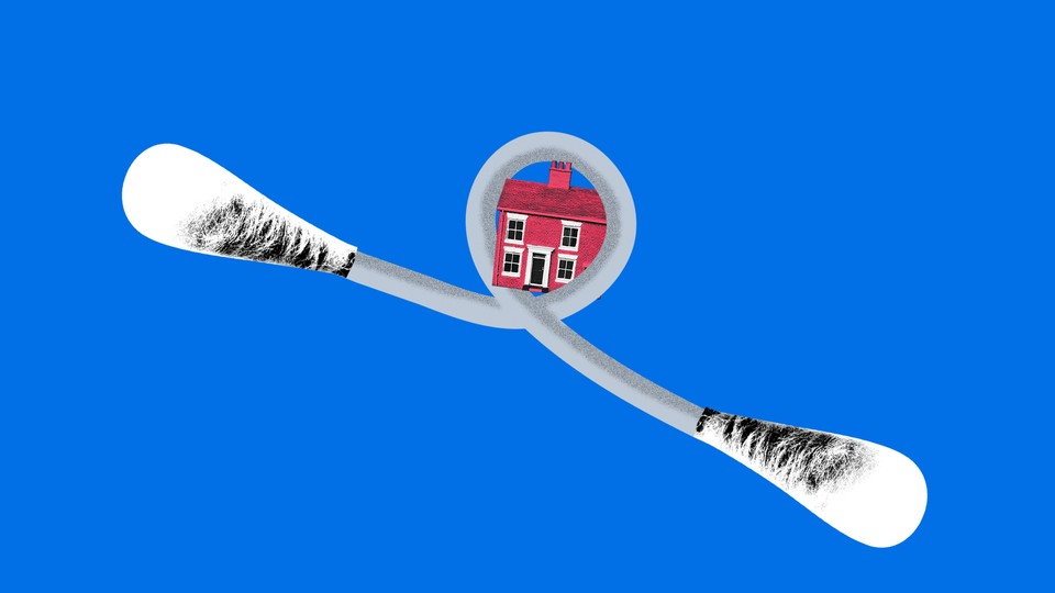 A cotton swab looped around a house