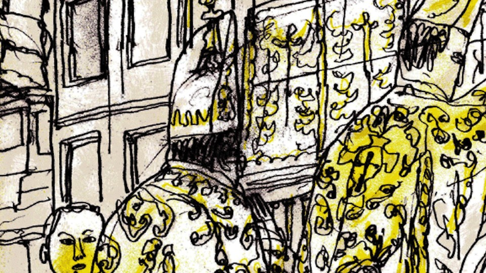 A detail from the cover of the New York Review Books edition of Kingsley Amis's <em>The Alteration</em>