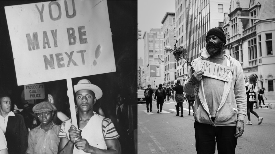 Two photos of protesters