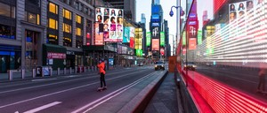 Traffic-free Times Square in New York City