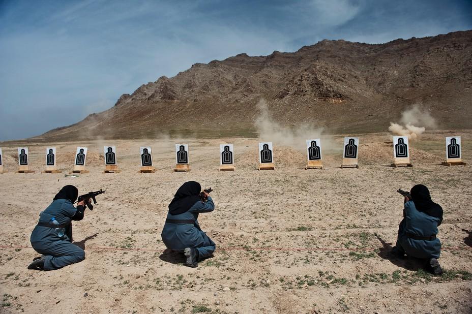 Policewomen at target practice