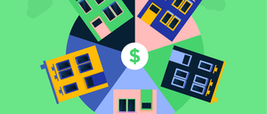 Illustration of houses arrayed in a circle, like slices of a pie.
